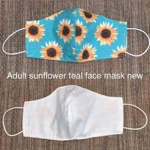 3/$15 sunflower teal fabric face mask new